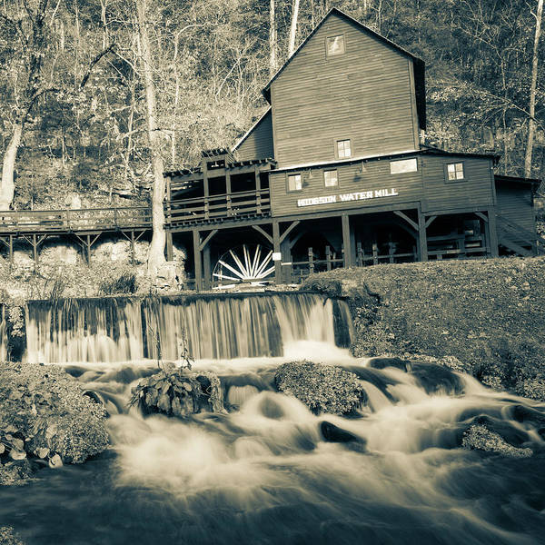 Photograph - Hodsgon Mill - Missouri - Square Format - Sepia by Gregory Ballos