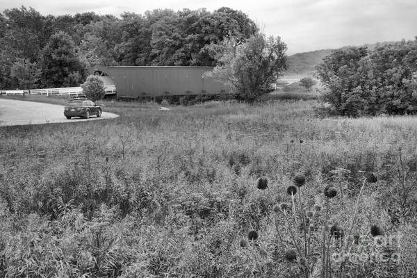 Photograph - Hogback Bridge In The Distance Black And White by Adam Jewell