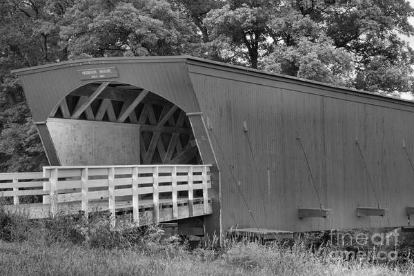 Photograph - Hogback Bridge In The Forest Black And White by Adam Jewell