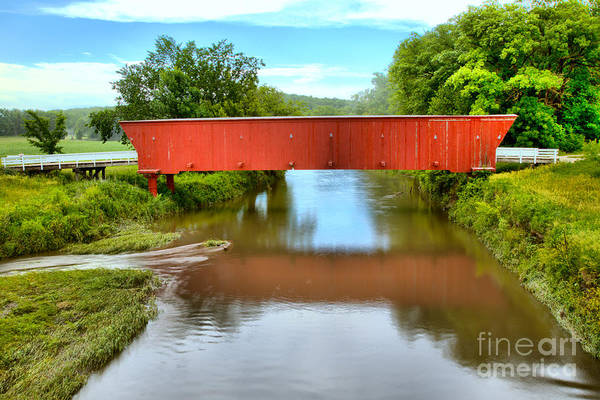 Photograph - Hogback Covered Bridge Reflections by Adam Jewell