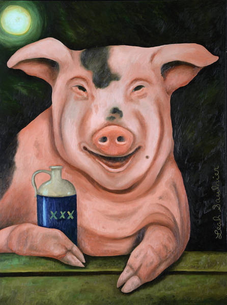 Painting - Hogging The Moonshine by Leah Saulnier The Painting Maniac