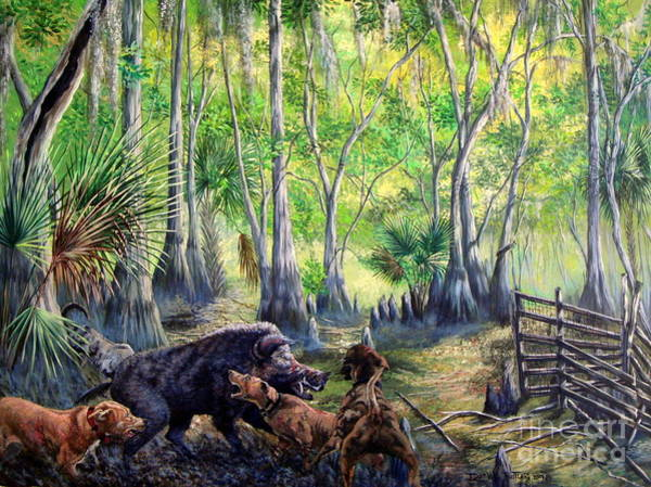Backwoods Wall Art - Painting - Hogs And Dogs-a Southern Tradition by Daniel Butler