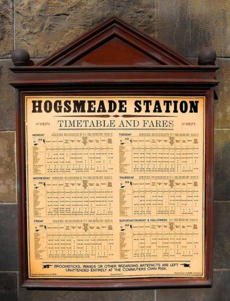 Photograph - Hogsmeade Station Timetable by Juergen Weiss