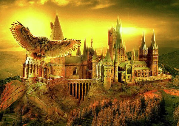 Wall Art - Digital Art - Hogwarts Golden Owl by Midex Planet