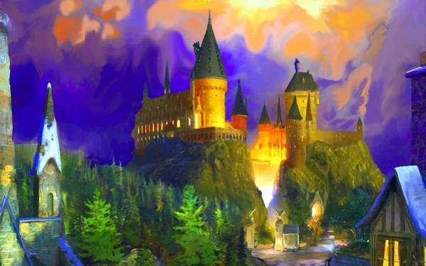 Wall Art - Digital Art - Harry Potter Art Hogwarts Starry Night by Midex Planet