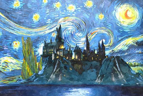 Wall Art - Digital Art - Blue Hogwarts Poster by Midex Planet