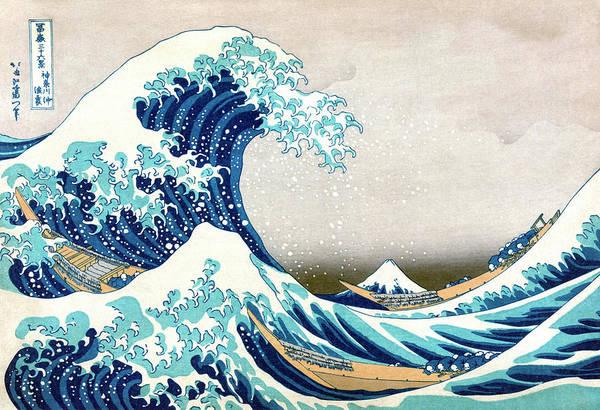 Woodblock Painting - Hokusai Great Wave Off Kanagawa by Katsushika Hokusai