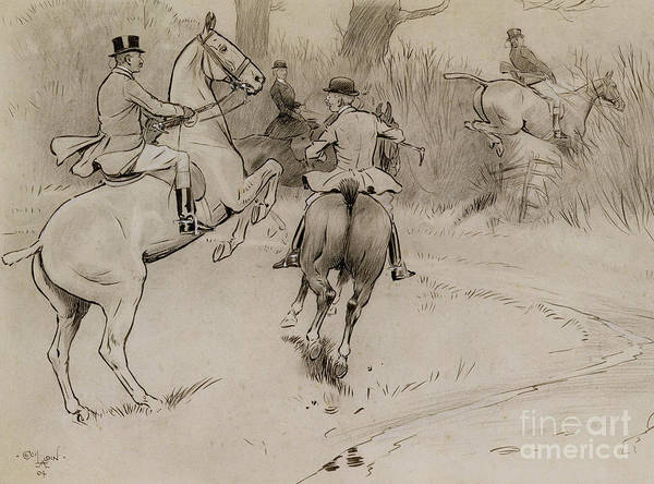 Jump Drawing - Hold Back Sir by Cecil Charles Windsor Aldin