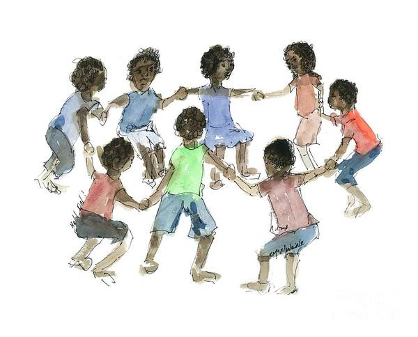 Painting - Children African Hold On Children by Kathleen McElwaine