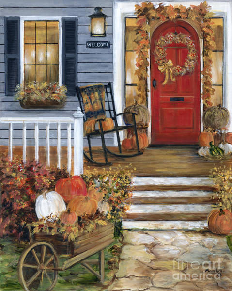 Rocking Chairs Painting - Pumpkin Porch by Marilyn Dunlap