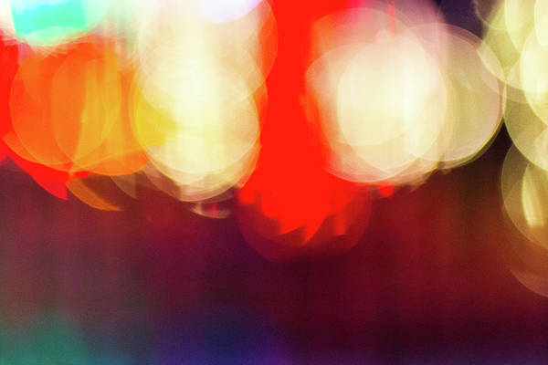 Photograph - Holiday Lights Abstract Bokeh by SR Green
