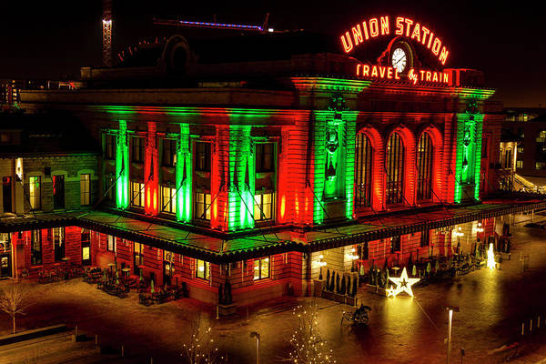 Photograph - Holiday Lights At Union Station Denver by Teri Virbickis