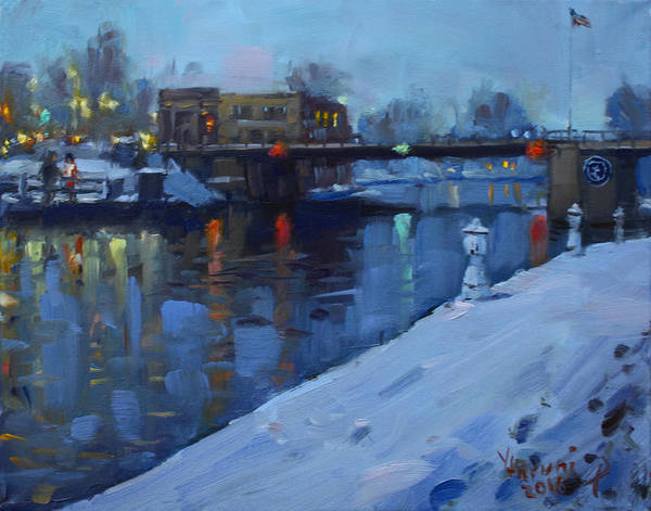 Wall Art - Painting - Holiday Lights In Tonawanda Canal  by Ylli Haruni