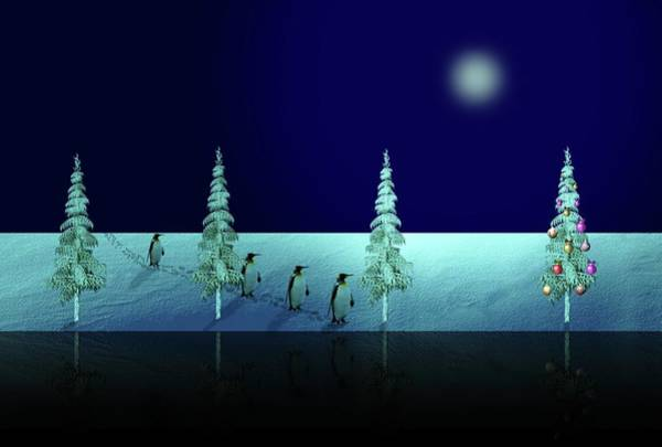 Painting - Holiday Night Walk Of The Penquins by Movie Poster Prints
