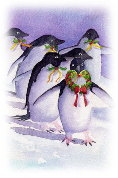 Painting - Holiday Penguins by Debbie Lewis