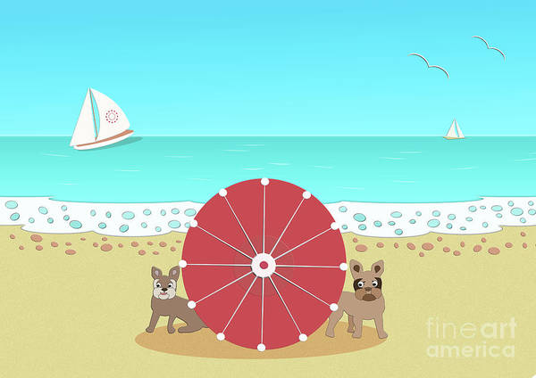 Digital Art - Holiday Romance Behind The Red Umbrella by Barefoot Bodeez Art