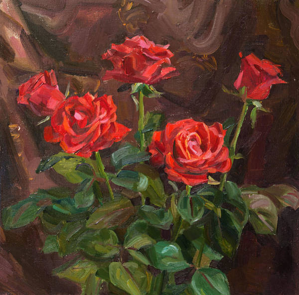 Wall Art - Painting - Holiday Roses by Victoria Kharchenko
