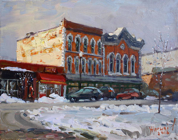 Bistros Painting - Holiday Shopping In Tonawanda by Ylli Haruni