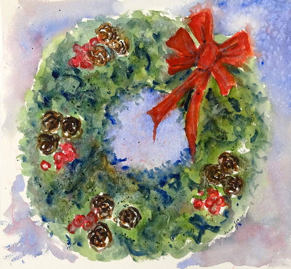 Painting - Holiday Wreath by Anna Jacke
