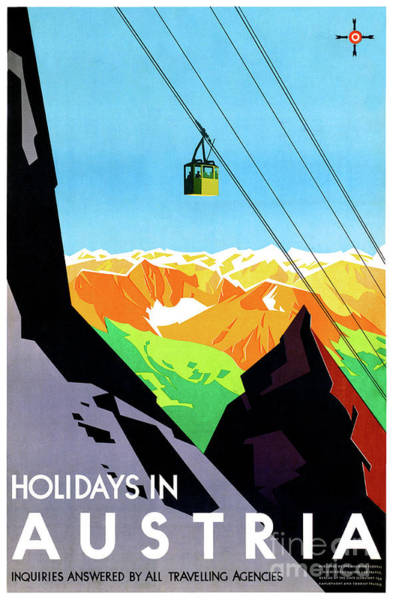 European Vacation Mixed Media - Holidays In Austria Restored Vintage Travel Poster by Vintage Treasure