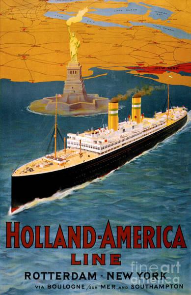 European Vacation Mixed Media - Holland America Line Vintage Poster Restored by Vintage Treasure