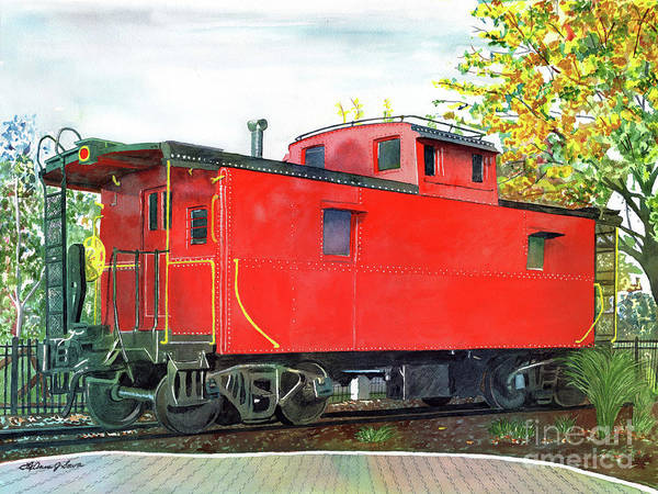 Red Caboose Painting - Holland Michigan Caboose by LeAnne Sowa