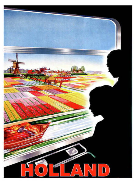 Vintage Train Painting - Holland, View From The Window, Train In Move by Long Shot