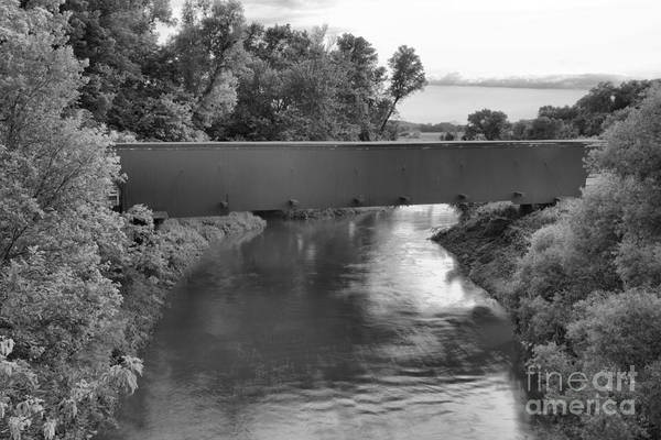 Photograph - Holliwell Covered Bridge Sunset Black And White by Adam Jewell