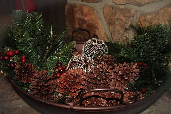 Photograph - Holly And Pine Cones by Cynthia Guinn