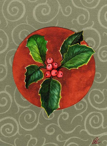 Yule Tide Painting - Holly by Carrie Auwaerter
