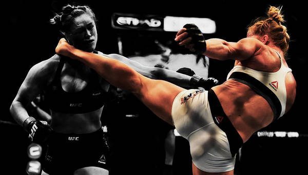 Boxing Mixed Media - Holly Holm And Ronda Rousey 1a by Brian Reaves