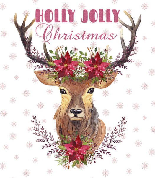 Painting - Holly Jolly Christmas Watercolor Deer Head Poinsettia Flowers by Georgeta Blanaru
