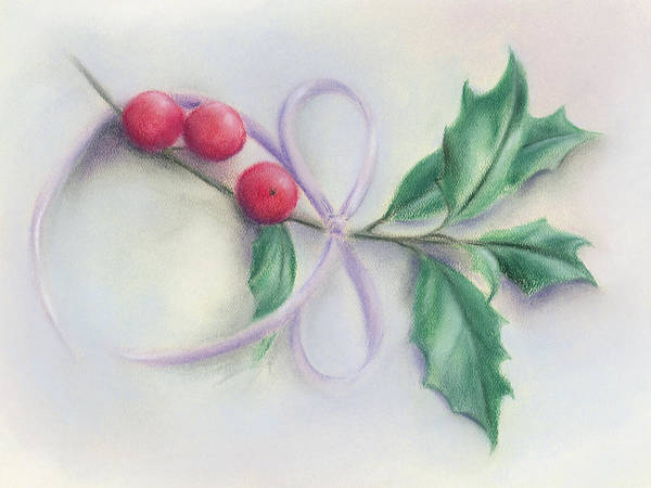 Pastel - Holly Sprig With Bow by MM Anderson