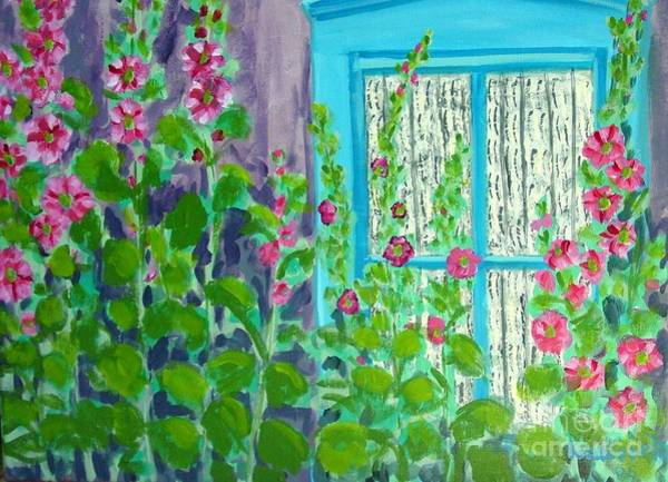 Painting - Hollyhock Surprise by Laurie Morgan