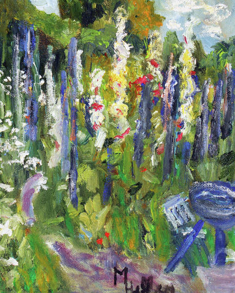 Painting - Hollyhocks, After Morisot by Michael Helfen