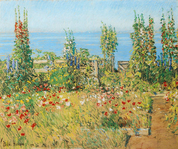 Hollyhock Photograph - Hollyhocks Isles Of Shoals by Childe Hassam