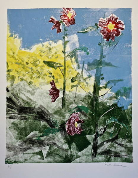 Monotype Mixed Media - Hollyhocks Monotype by Bonnie See