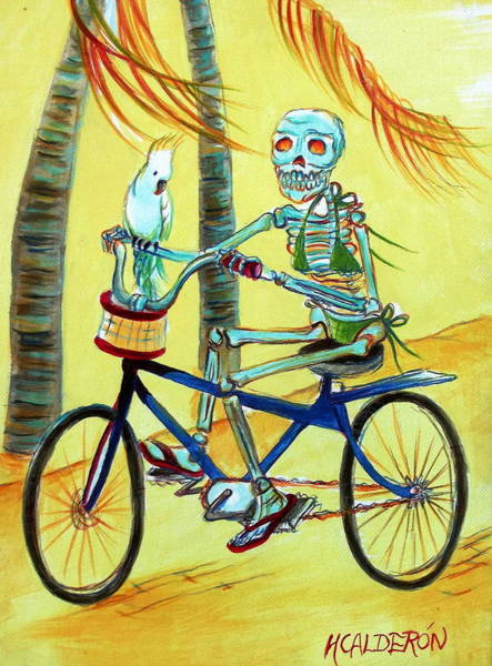 Wall Art - Painting - Hollywood Bicycle Woman by Heather Calderon