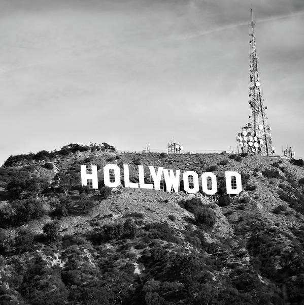 Photograph - Hollywood California Sign In Black And White - Square Format by Gregory Ballos