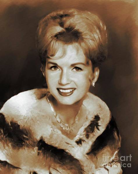 Wall Art - Painting - Hollywood Classics, Debbie Reynolds, Actress by Mary Bassett