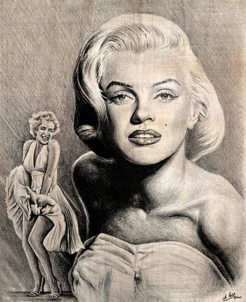 Nostalgia Drawing - Hollywood Greats Marilyn Monroe by Andrew Read
