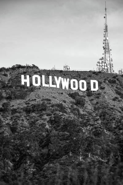 Photograph - Hollywood Hills Sign Vertical - Los Angeles California - Black And White by Gregory Ballos