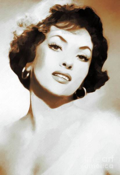Gina Wall Art - Painting - Hollywood Legends, Gina Lollobrigida by Mary Bassett