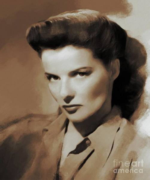 Wall Art - Painting - Hollywood Legends, Katharine Hepburn by Mary Bassett