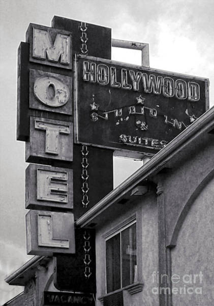 Photograph - Hollywood Motel Black And White by Gregory Dyer