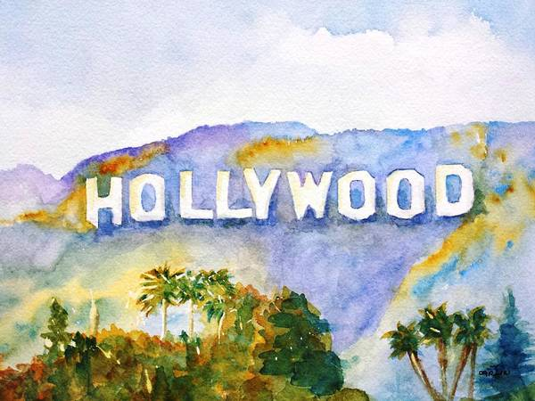 Best Selling Painting - Hollywood Sign California by Carlin Blahnik CarlinArtWatercolor
