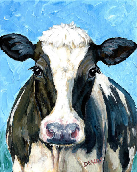 Cows Wall Art - Painting - Holstein Cow 1 Head And Chest by Dottie Dracos