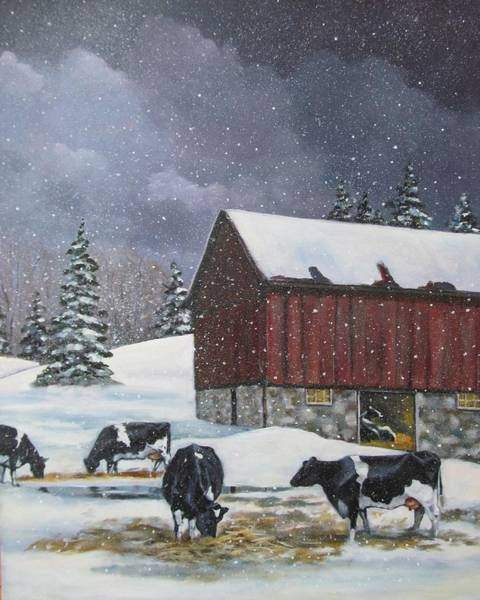 Wall Art - Painting - Holstein Cows On Snowy Day by Joyce Geleynse
