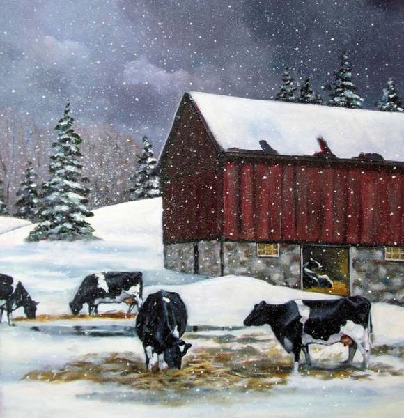 Wall Art - Painting - Holstein Cows On Snowy Day No. 2 by Joyce Geleynse