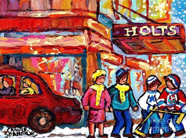 Painting - Holt's Downtown Montreal Winter Street Scenes Street Hockey Painting Canadian Artist Carole Spandau by Carole Spandau